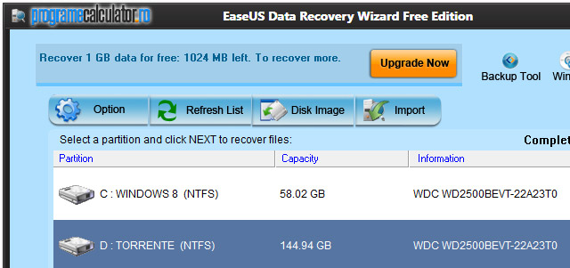 EaseUS Partition Recovery: Destinatia datelor recuperate