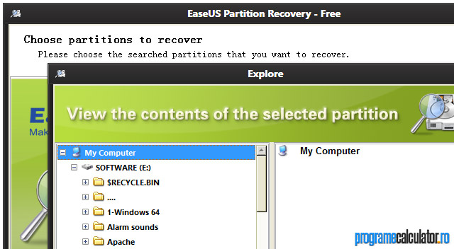 EaseUS Partition Recovery: Explore