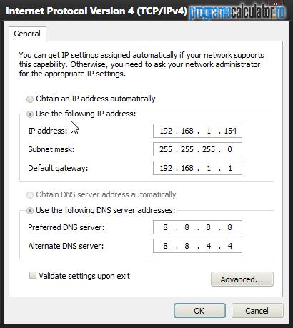 Setari IPv4