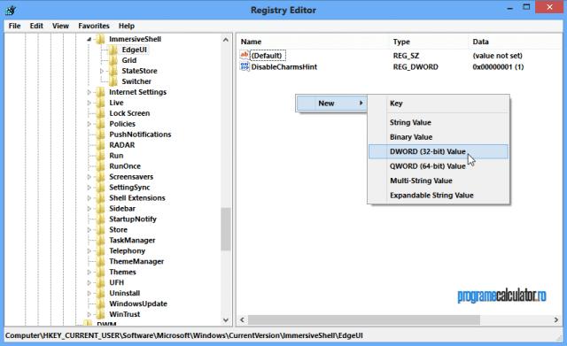 Noua cheie de registru fiin selectată, dați click dreapta în panoul drept al editorului și selectați New DWORD (32-bit) Value, pe care o veți denumi DisableCharmsHint. Click dreapta pe valoarea cea nouă, selectați Modify și stabiliți valoarea 1.
