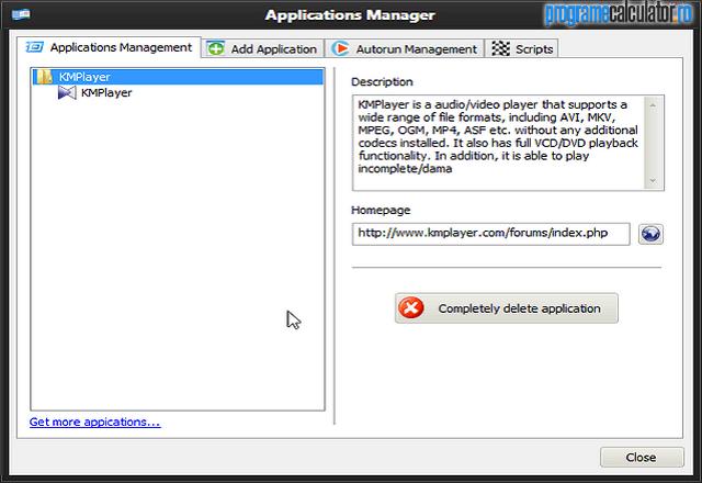 Managerul de aplicații