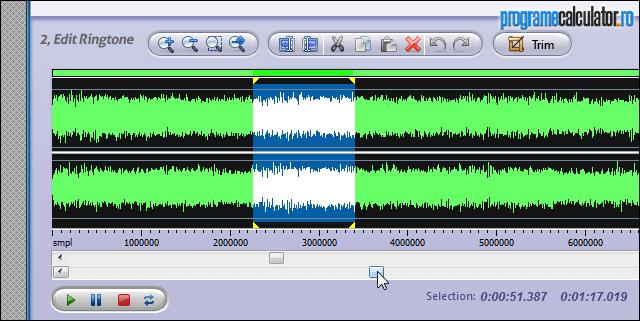 Selectare punct de pornire audio