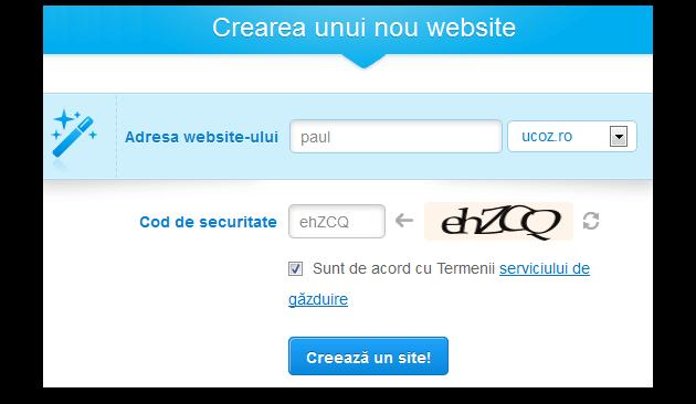 Adresa Web și cod de securitate