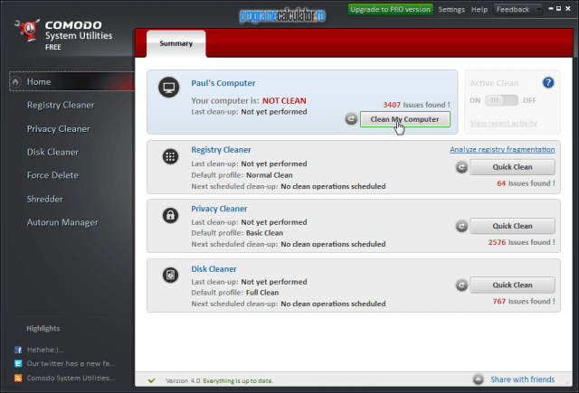 Interfata Comodo System Utilities