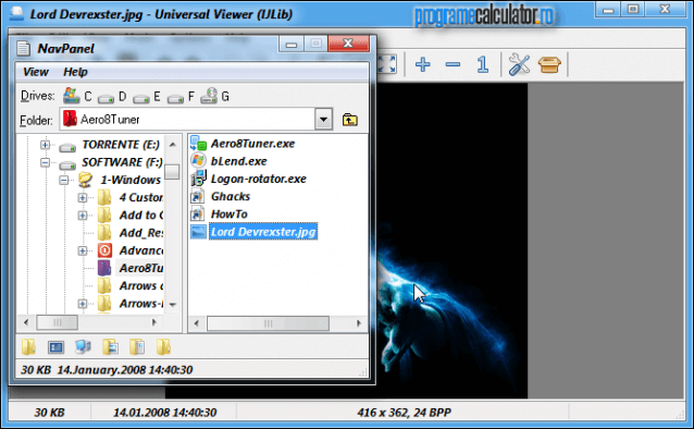 Universal Viewer » navigator