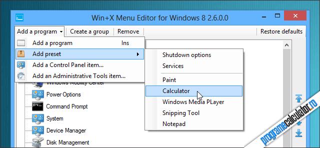 Adăugare opțiuni noi în meniul Win+X
