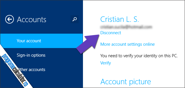 Disconect Microsoft Account