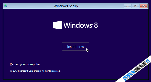 Install now Windows 8.1