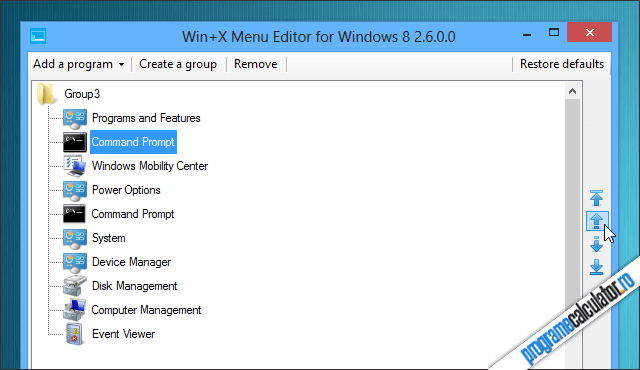 Personalizare meniu Win+X