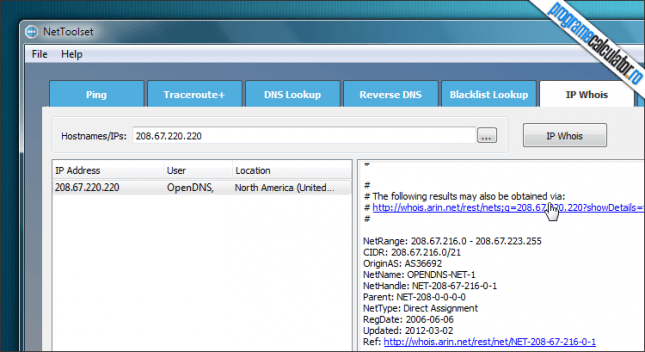 NetToolset IP Whois
