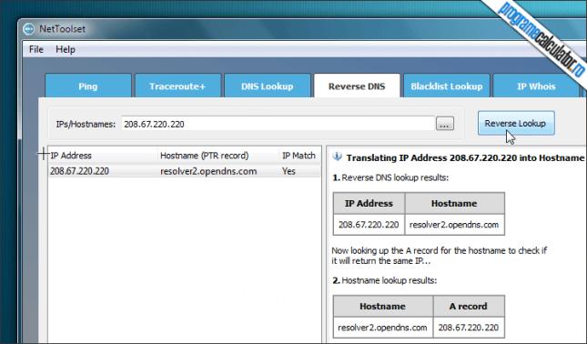 NetToolset Reverse DNS