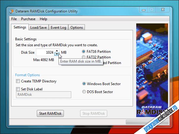 Creare partiție virtuală cu RAMdisk
