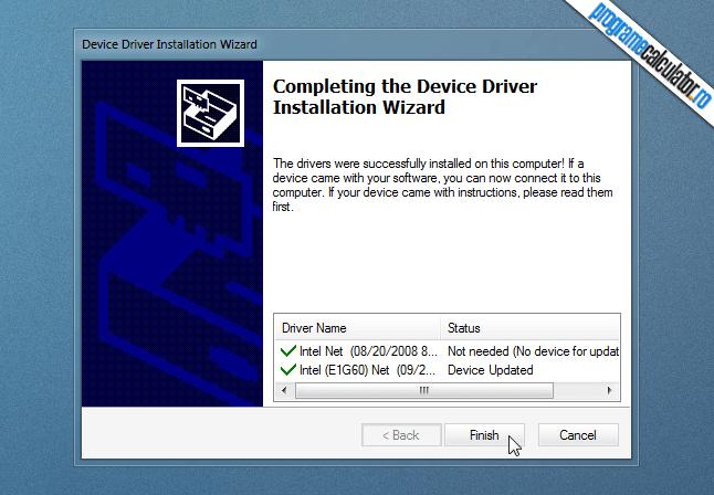 driverul placii de retea a fost instalat in calculator