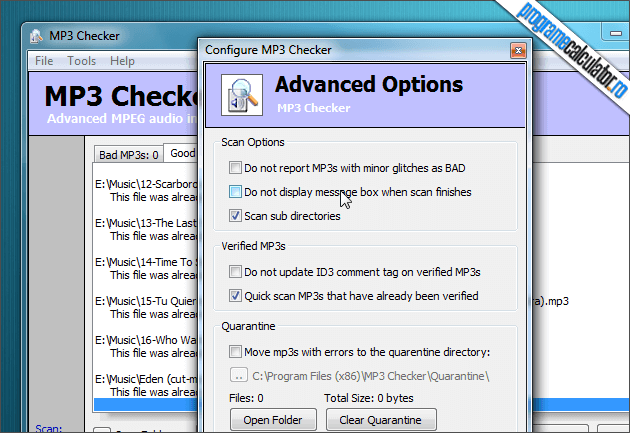 optiuni mp3 checker