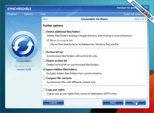 Optiuni de sincronizare a folderelor cu Synchredible