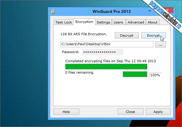 WinGuard pro parolare criptare folder