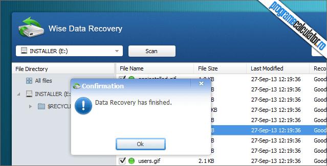 Wise Data Recovery Scanare și recuperare finalizata