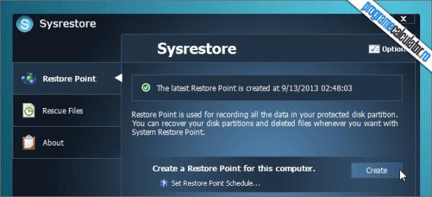 creare punct restaurare sistem de operare