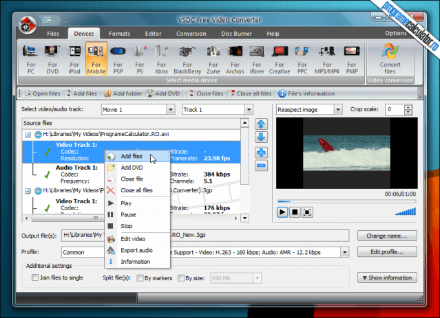 VSDC Free Video Converter - interfata