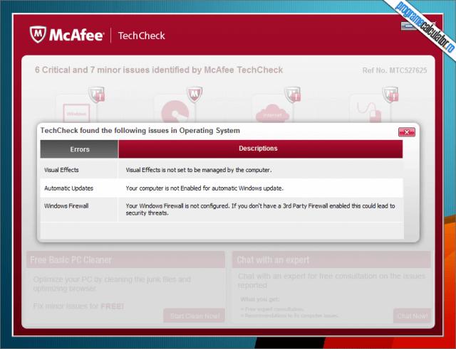 McAfee TechCheck - descriere probleme