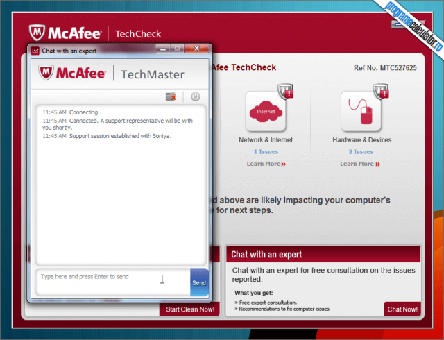 McAfee TechCheck - fereastra chat