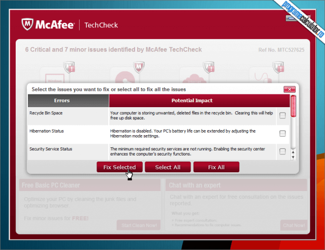 McAfee TechCheck  -pc cleaner