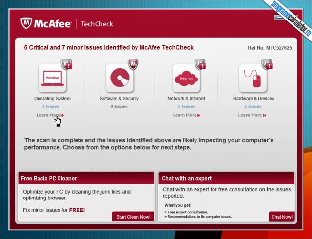 McAfee TechCheck - rezultate