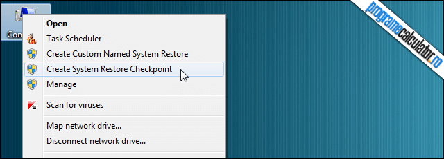 Restore Point Creator - meniu contextual