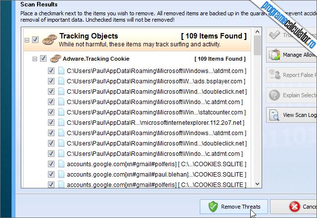SUPERAntiSpyware Free Rezultate Scanare