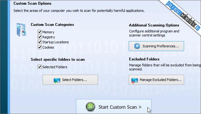 SUPERAntiSpyware Free Scanare Personalizata