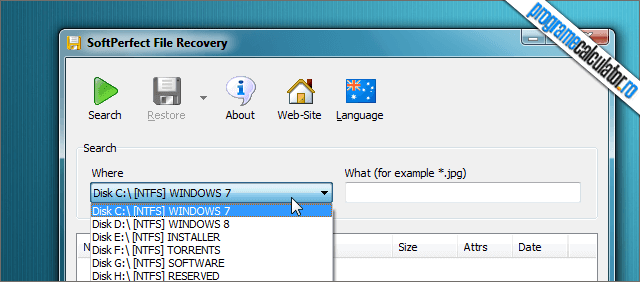 SoftPerfect File Recovery Interfata
