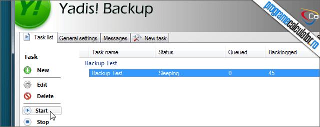 Yadis! Backup Start Backup