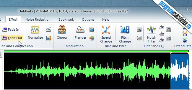 program de taiat melodii - Power Sound Editor - Fade Out
