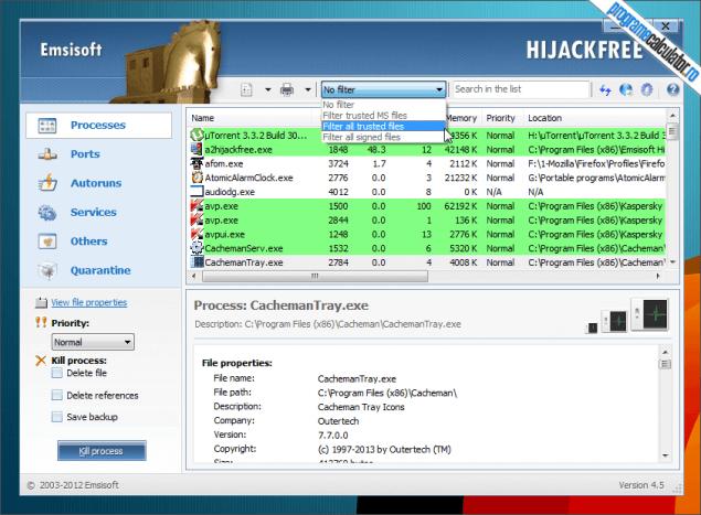1-Emsisoft HiJackFree-interfata-procese