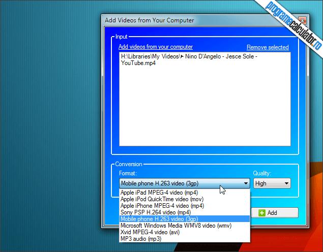 2-VideoSavior-selectare-format-conversie