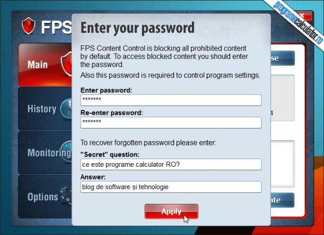 1-FPS Content Control-stabilire-parola