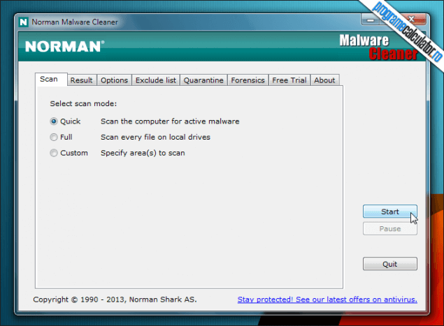 1-Norman Malware Cleaner-tip-scanare