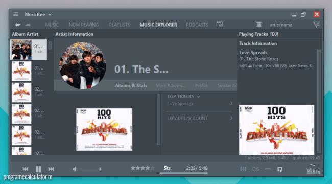 program de ascultat muzică - MusicBee