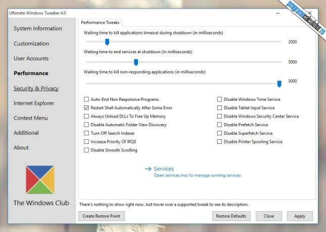 Ultimate Windows Tweaker - Performance
