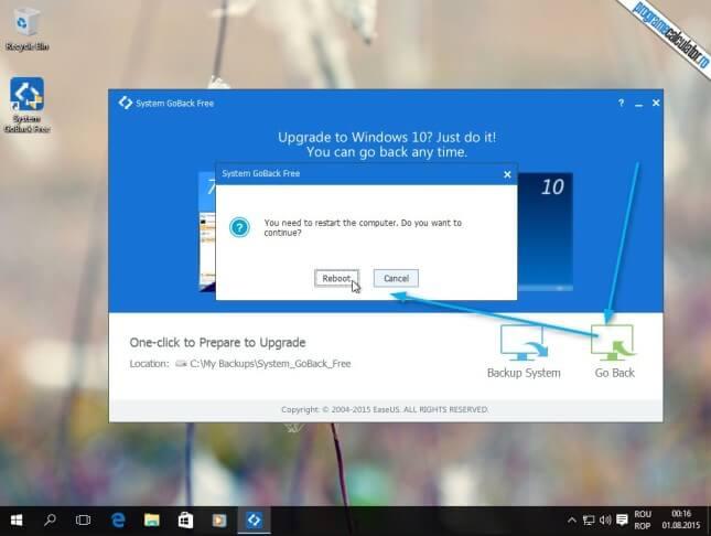restaurare sistem de operare anterior cu System GoBack