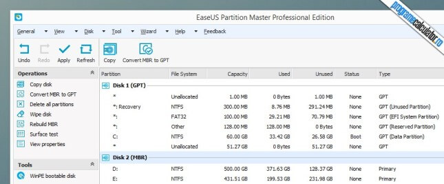 Operatii HDD si SSD disponibile in EaseUS Partition Master Professional