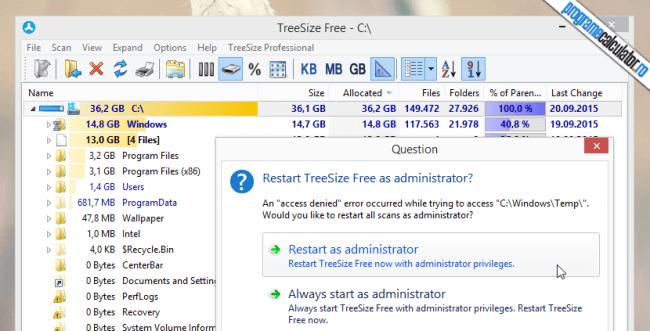 permisiunul de administrare TreeSize Free