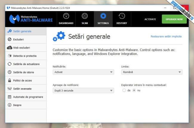Malwarebytes Anti-Malware - Setări