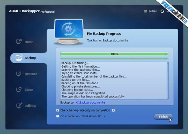 backup completat de AOMEI Backupper