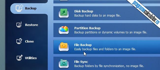 backup fisiere personale cu AOMEI Backupper