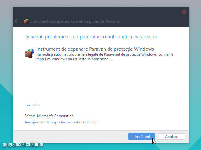Instrument de depanare paravan de protectie Windows