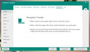 Windows Tweaker - Navigation