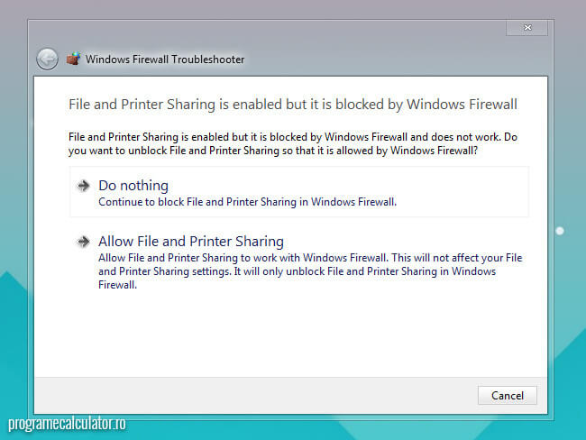 file and printer sharing is enabled but is blocked by windows firewall