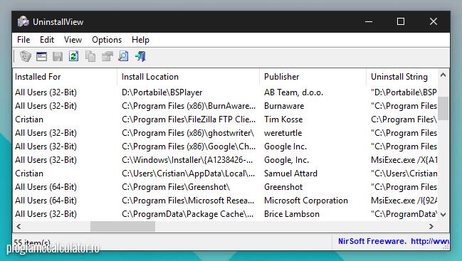 utilizatorul instalat programul