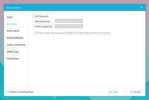 criptarea și protejarea backup-ului cu o parolă